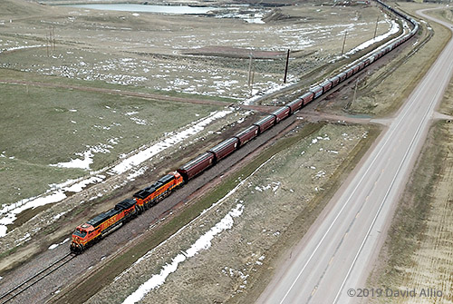 Burlington Northern Santa Fe Railway (BNSF) locomotives freight train Gillette Wyoming