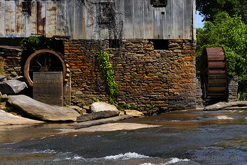 Two Rusting Waterwheel Anderson Mill oldest standing mill North Tyger River Spartanburg County Moore South Carolina Americana Collection