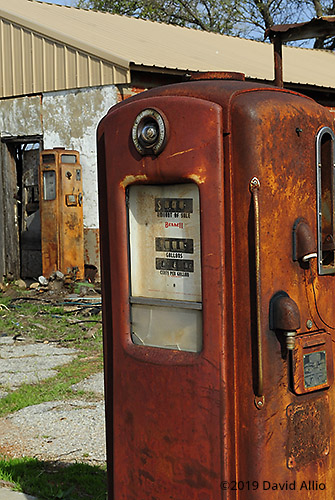 Decades Apart Bennett 766 gas pump glowing rust patina Caddo County Coger Oklahoma