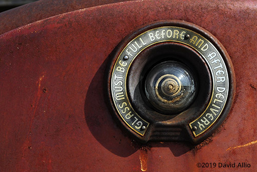 Sight Glass Bennett 766 gas pump glowing rust patina Caddo County Coger Oklahoma
