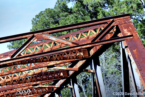 Rusted riveted lattice connections Hillman Bridge Old Ellaville Bridge abandoned US90 Bridge Suwannee River State Park Ellaville Florida Americana Collection