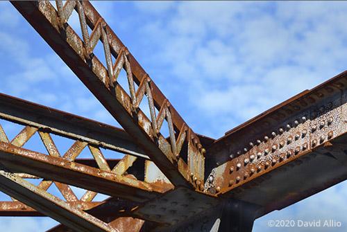 Rusted overhead lattice stringers steel upright Hillman Bridge Old Ellaville Bridge abandoned US90 Bridge Suwannee River State Park Ellaville Florida Americana Collection