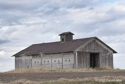 High wind warning rusted roof Weathered Prairie Barn Fountain County Stone Bluff Indiana landscape Americana Collection