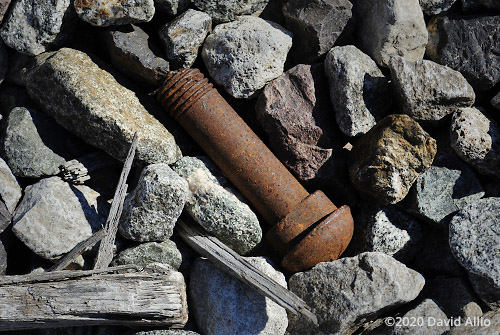 Rusted steel bolt and metamorphic stone in Vermilion County Illinois still life Americana Collection