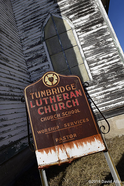 Tunbridge Scandinavian Evangelical Lutheran Church rust sign Rugby North Dakota 2019